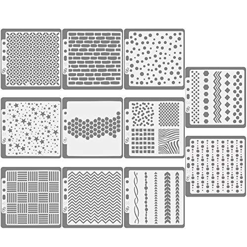 CODIRATO 11 Stück Kunststoff Schablonen Bullet Journal Zeichenschablonen Tagebuch Vorlagen Planer Schablonen für DIY Tagebuch, Scrapbook, Notizbuch, Karten, 14 x 13cm