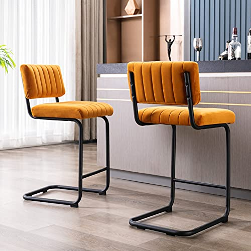 ONEVOG 24Inch Modern Light Weight Barstools with Velvet Backrest and Solid Metal Legs, Set of 2 Counter Height Stool, for Kitchen Dining Party Bar Chairs (Orange)