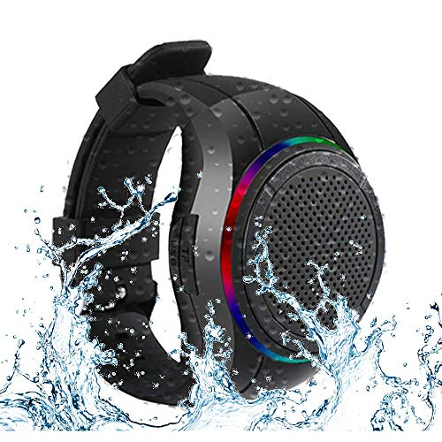 Frewico X10 Waterproof IPX5 Wireless Speaker Watch Shape Bluetooth Speaker with TWS+Voice Control+LED Flashing Light + MP3 Music Player + Mic + TF Card Slot, for Sports,Outdoor Travel and Home(Black)