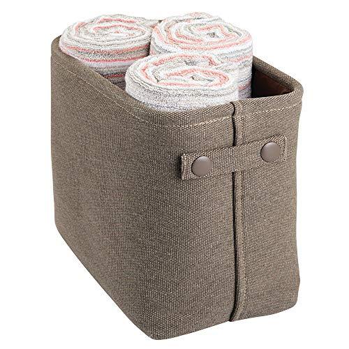 mDesign Cesta de tela con forro y diseño estructurado – Ideal como cesto para baño o como organizador de cosméticos – Práctico organizador de baño de tejido de algodón con asas – marrón