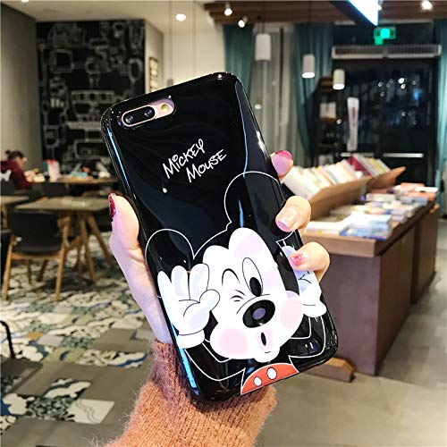 "Ultra Slim Fit Shiny Smooth Soft TPU Black Mickey Mouse Case for iPhone 7+ 7Plus 8Plus Large Size 5.5"" Screen Sleek Cartoon Protective Cool Fun Cute Lovely Fashion Gift Girls Teens Kids Boys"