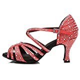 AOQUNFS Women's Latin Salsa Ballroom Rhinestone Dance Shoes Performence Dance Shoes, Red L356-6,US5.5