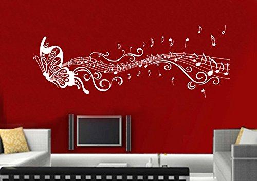 Wandtattoo wandaufkleber Aufkleber Wandsticker wall sticker Wohnzimmer Schlafzimmer Kinderzimmer KÜCHE 30 Farben zur Wahl Liebe Fee music noten Schmetterling wsh03(056 lichtblau, Größe2:ca.150x43cm )
