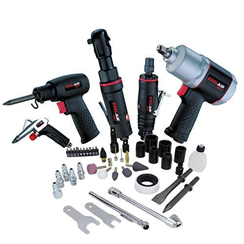 EXELAIR by Milton 50-PC Light-weight Composite Automotive Air Tools with High Torque Impact Wrench, Ratchet, Die Grinder, Air Hammer & Blow Gun