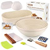 Bread Proofing Basket - KAQINU 10 Inch Oval &10 Inch Round Banneton set, Sourdough Proofing Basket with Dough Scraper, Bread Lame, Brotform Cloth Liner, Basting Brush for Professional & Home Bakers