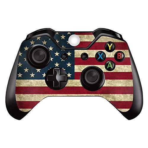Skin Skin Skin für Xbox One Controller (Vinyl, für Microsoft Xbox One DualShock Wireless Controller) Blau Flammenblau, Amerika Flagge B