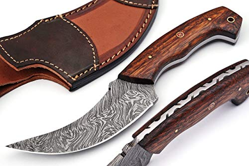 Grace Knives Handmade Damascus Steel Hunting Knife Fixed Blade Knife 9.5 Inches with Leather Sheath G-2037