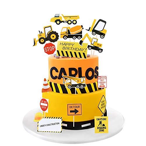MMTX Bagger Tortendeko Geburtstag Junge 1 Auto Deko Torte,Cars Straßensperre Tortendeko für Kinder