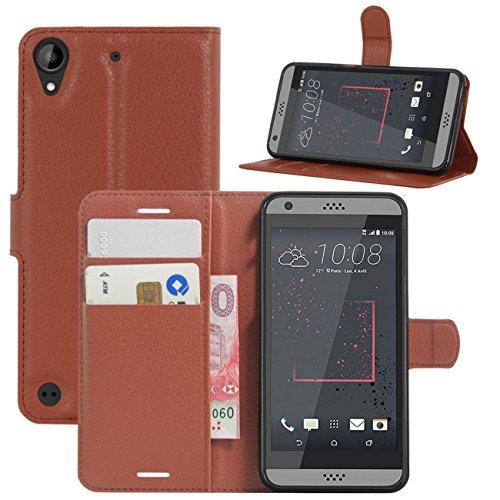 HualuBro HTC Desire 530 Hülle, Premium PU Leder Leather Wallet HandyHülle Tasche Schutzhülle Flip Hülle Cover für HTC Desire 530 Smartphone (Braun)