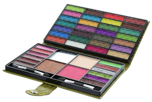 Beauty Revolution 43 Color Makeup Purse With 28 Eyeshadow 1 Blush 1 Press Powder 6 Glitter 6 Lip Gloss 1 Bronzer All In One Foldable Palette (Olive) by BeautyezShop