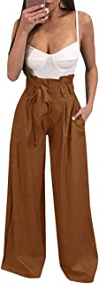 Womens High Waisted Palazzo Pants Wide Leg Stretch Trouser Pant Belted with Pockets