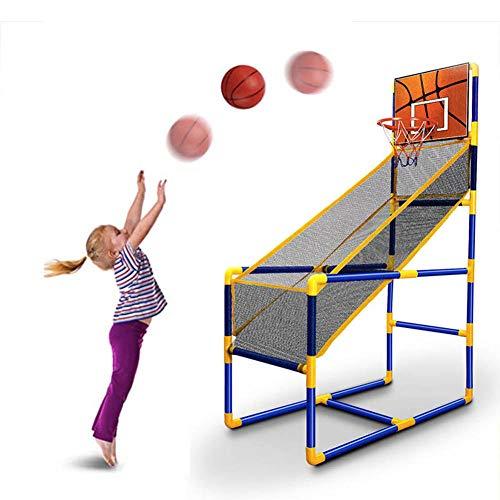 Juego de baloncesto para niños, juego de arcada de baloncesto Shootout Arcade, aro de baloncesto y soporte de red, uso en interior/exterior, bola y bomba incluidos, fácil de montar