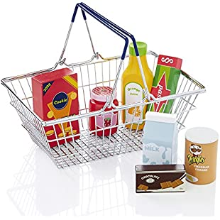 Milly & Ted Metal Shopping Basket & Wooden Play Food Set - Childrens Pretend Roleplay Toy Playset:Greatestmixtapes