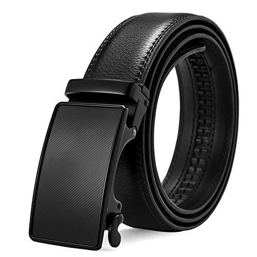 BOSTANTEN Cinturón de vestir de trinquete de cuero para hombre con hebilla deslizante automática