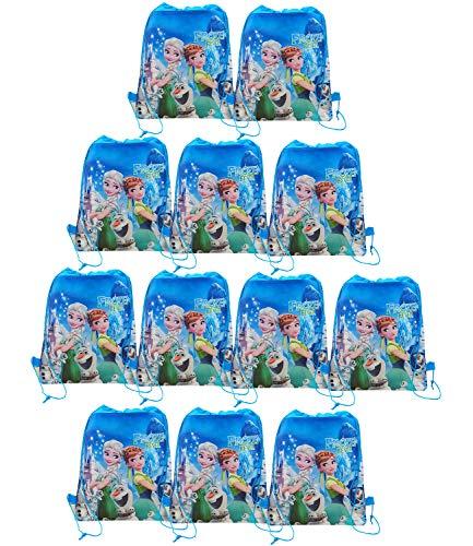 Qemsele Borse per Bambini Borse Sacca 12 PCS, Zaino con Coulisse Sacchettini del per Bambini e Adulti Festa di Compleanno Bambini bomboniare Borsa Sacchetto Festa (Frozen3, W10 * H12)