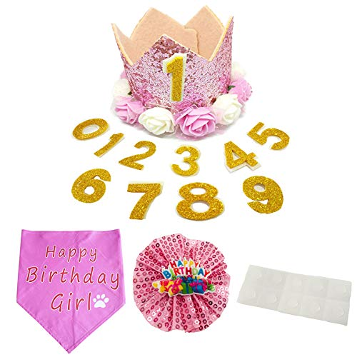 PET SHOW Pink Crown Dog Birthday Hat Bandana Collar Bows Charms Costume Set Reusable Birthday Party Headband Puppies Cat Kitten Hats with 0-9 Figures Charms Grooming Accessories