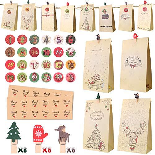 Calendario de Adviento, Set de 24 Bolsas de Papel Kraft para Rellenar con Calendario de Adviento Casero, 24 Pegatinas y Clips, Bolsa de Regalo Navidad Decoración Navideña para Hogar, Bodas, Cumpleaños