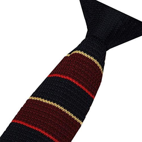 S.R HOME Cravate mince pour homme Rayure Marron et ligne rouge et beige bout carré de 6cm