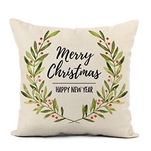 Awowee Linnen Kussensloop 45x45cm Kerst Pepermunten Rood en Wit Ronde Draai Snoep op Roze Willekeurig Patroon Tegel Home Decor Kussensloop Vierkant Kussensloop voor Bed Sofa
