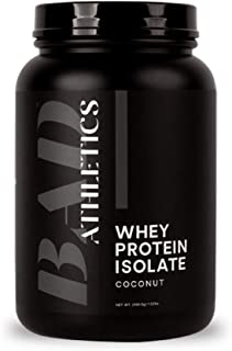 Bad Athletics Grass Fed 100% Whey Protein Isolate, Coconut - Five Ingredients, 20g of Protein, Naturally Flavored & Sweete...
