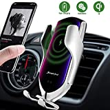 LUKKAHH R2 Wireless Car Charger Mount,Auto-Clamping Air Vent Phone Holder,10W Qi Fast Car Charging,Compatible iPhone 11/11 Pro/11 Pro Max/XS/XS Max/X/8/8+, Samsung Note9/Note10/S9+/S10+(Silver