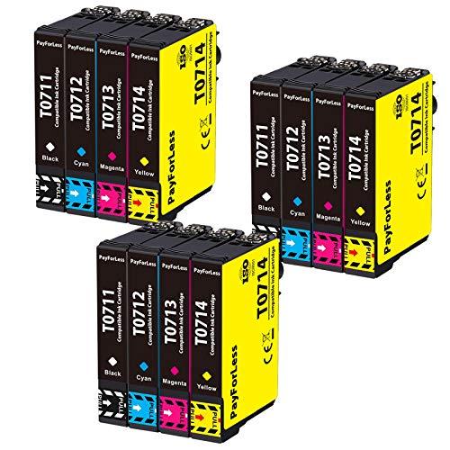 PayForLess T0711 T0712 T0713 T0714 T0715 Cartuchos de Tinta Compatible para Epson Stylus SX218 SX515W DX4000 DX4400 DX7400 DX8400 SX115 SX205 SX215 SX405 SX210 (12 Paquete)