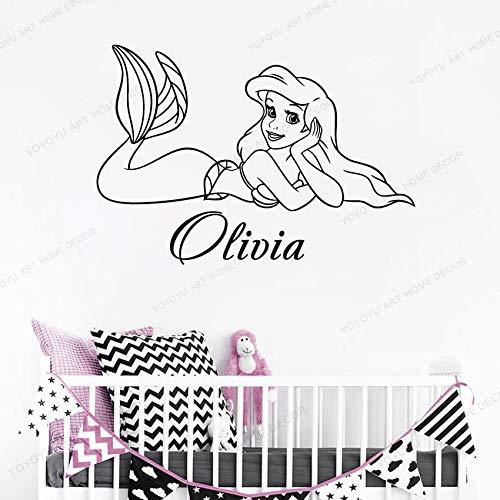 Nombre personalizado Ariel Sirena Etiqueta de la pared Niños de la historieta Etiqueta de la pared Personalidad Nombre de la niña Decoración de la habitación Vinilo Habitación del bebé 57x82CM