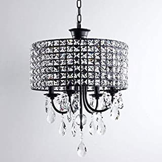 Zzyff Brilliant Pendant Light Modern Round Hanging Lighting Crystal Iron Chandelier Elegant E14 Lamp Socket Dining Room Living Room Study Adjustable Height Ceiling Lighting D45H53cm