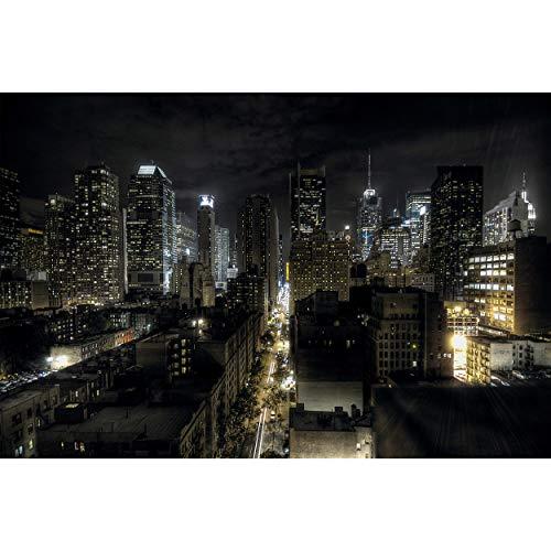 GREAT ART Papier Peint – Manhattan New York – Décoration Murale de Nuit Skyline America Wall Deco USA Motif Gratte-Ciel Papier Peint Photo Murale (210 x 140 cm)