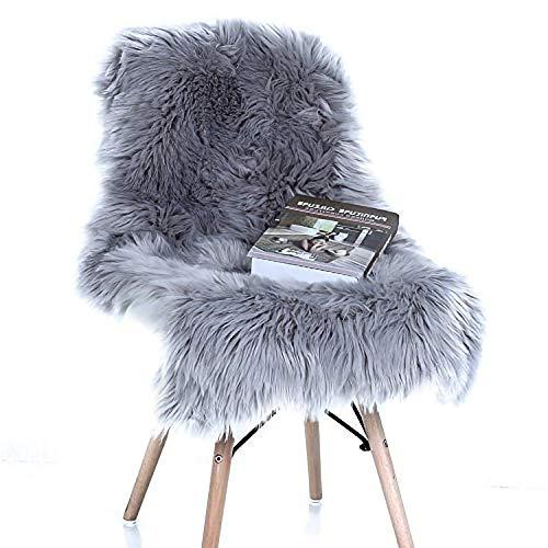 YJ.GWL Super Soft Fluffy Faux Fur Sheepskin Rug for Bedroom Sofa Seat Cover Living Room Shaggy Bedside Area Rugs Irregular 2' x 3' Grey