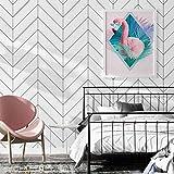 Papel pintado de PVC resistente al agua, diseño de rayas geométricas, color blanco