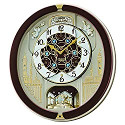 Seiko QXM291B 18-Melodies Melody in Motion Clock, Brown & White