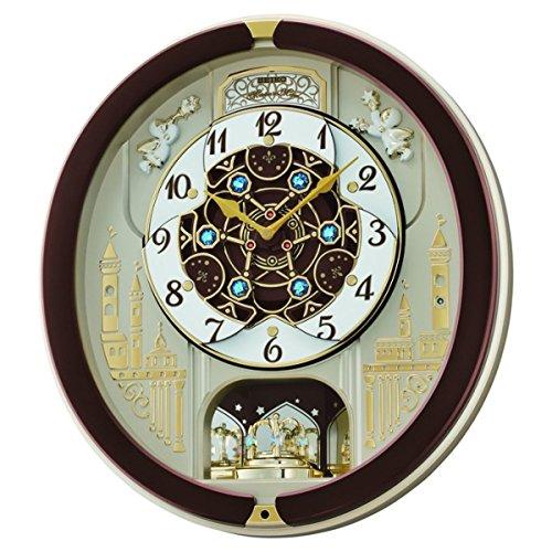 Seiko QXM291B 18-Melodies Melody in Motion Clock, Brown & White