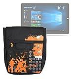 DURAGADGET Bolso Negro con Print En Color Naranja para Tablet Chuwi HiBook/HiBook Pro
