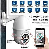 jinclonder Cámara de vigilancia Mejorada, 1080P WiFi HD Visión Nocturna PTZ Intercomunicador de Audio Acceso Remoto Alarma de detección de acción Cámara Impermeable de Largo Alcance