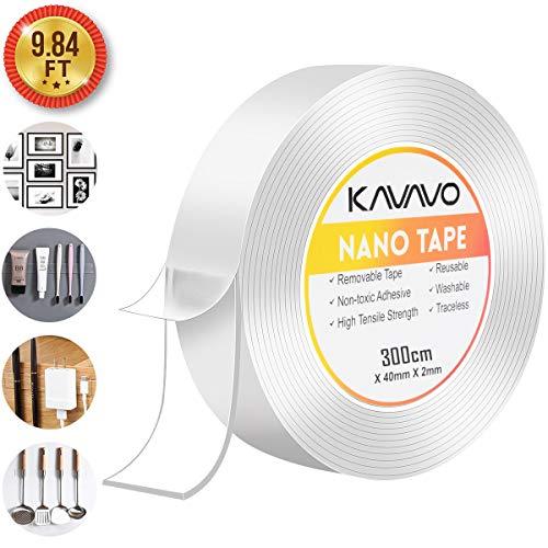 Nano Magico Nastro Biadesivo Riutilizzabile,3Meters*4CM*2MM Multifunzionale Nastro di Colla Trasparente Rimovibile Senza Traccia, Lavabile Forte Adesivo Antiscivolo di Gel da Ufficio, Tappeto, Cucina.