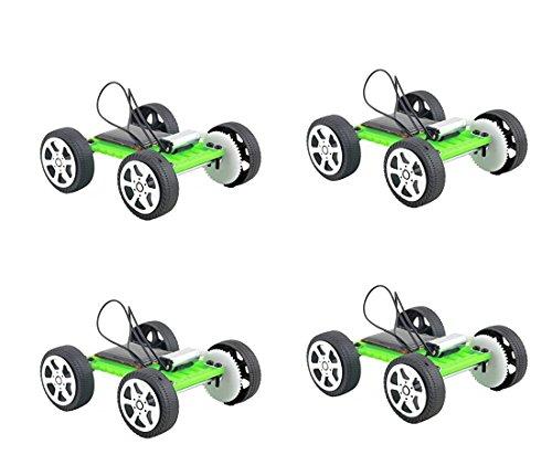 Fashionclubs 4pcs/Set Children DIY Assemble Solar Power Car Toy Kit Science Educational Gadget Hobby