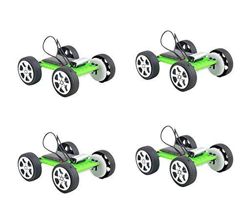 Fashionclubs 4pcs/set Children DIY Assemble Solar Power Car Toy Kit Science Educational Gadget Hobby
