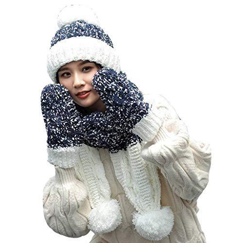 ONGLOLH 3 in 1 Hat Schal und Handschuhe Mädchen Winter Soft-Stretch Cap Strick Pompom Stretchy Caps Fashion Outdoor Sports Schals 3 Stück,Bitumen-One Size
