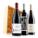 Ultimate French Red Wine Trio in Wooden Gift Box - 3 Bottles (