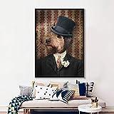 ganlanshu Imprimir en Lienzo-Perro Abstracto Lienzo Arte de la Pared Impresiones de Carteles de Pared e impresión decoración del hogar para Sala de Estar Pintura sin Marco 60x80cm