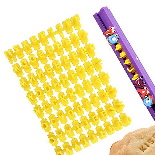 Keksstempel, XCOZU Set mit 72 Buchstaben und Zahlen Buchstaben Ausstecher für Fondant, Fondant buchstaben Stempel für Kuchen Keks Marzipan Deko Stempel Embosser Form