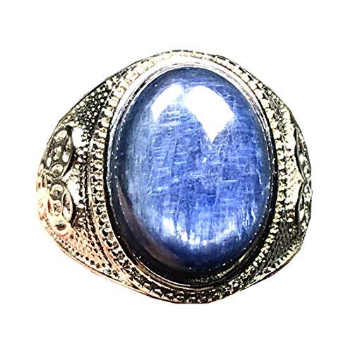 Anillo de cianita superior para hombre anillo, superior natural azul cianita cristal joyería 17x13mm perlas ojo de gato piedra piedra preciosa anillo ajustable AAAAA