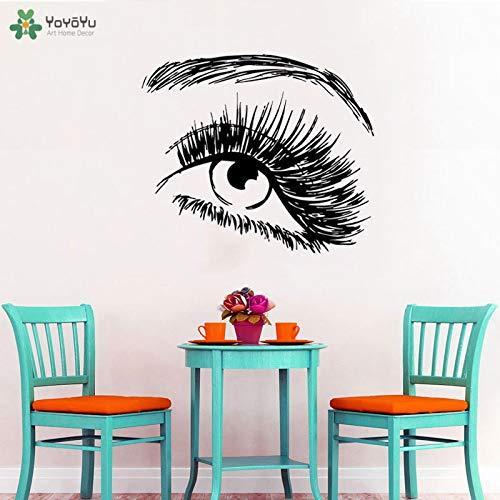 Muurtattoo meisjes salon art eye vinyl muursticker verwijderbare art decal voor meisjes slaapkamer modern behang oog patroon