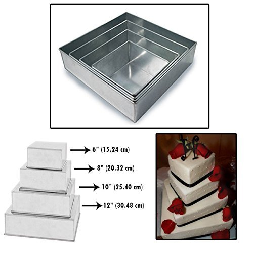 """Set of 4 Tier Square Multilayer Birthday Wedding Anniversary Cake Tins/Pans/Mould by Falcon 4"""" Deep"""
