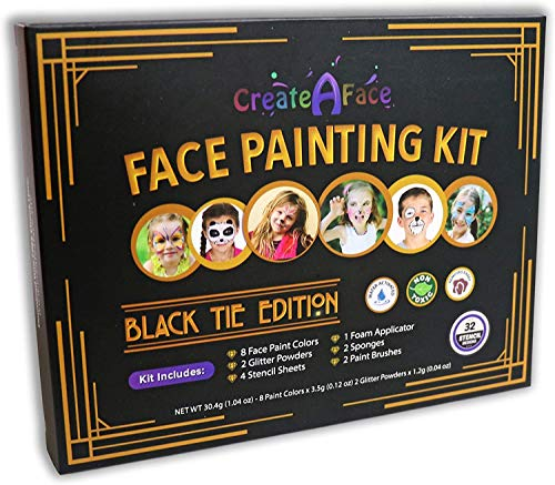 Face Painting Kit for Kids - 32 Stencils, 8 Water Based Face Paint Colors, 2 Brushes, 2 Glitters, 2 Sponges & 2 Applicators - Video Tutorials & eBook - 100% Safe, Easy On and Off (Black)