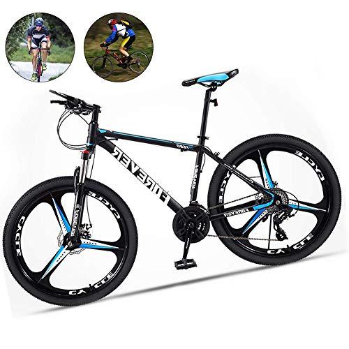 M-TOP Downhill Mountainbike-Federgabel Gravel Road Bike mit Scheibenbremsen 3 Speichen-Rad Carbon Steel Stadt-Pendler-Fahrrad for Straße oder Dirt Trail Touring, Blau, 27 Geschwindigkeit 26 Zoll KaiKa