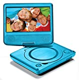 LEXiBOOK Portable DVD Player for Kids, 7' LCD Screen, 2 Built-In Stereo Speakers, USB Port, Built-In Rechargeable Battery, Blue, DVDP1