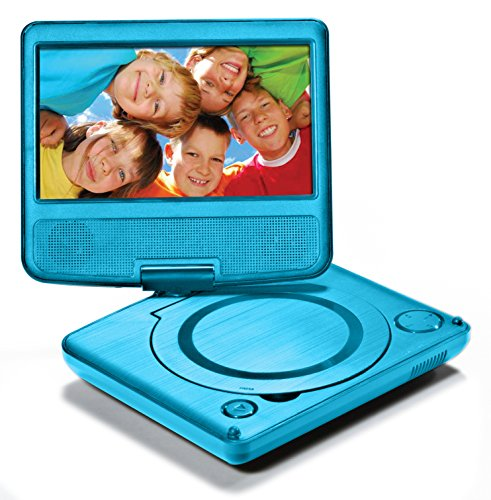 "LEXiBOOK Portable DVD Player for Kids, 7"" LCD Screen, 2 Built-In Stereo Speakers, USB Port, Built-In Rechargeable Battery, Blue, DVDP1"