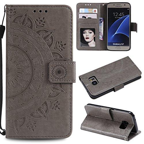 Trugox Samsung Galaxy S7 / G930 Hülle Leder Totemblume, Schutzhülle Brieftasche mit Kartenfach Klappbar Magnetverschluss Stoßfest Kratzfest Handyhülle Case für Samsung Galaxy S7 - LOHHA10614 Grau